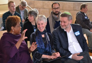 President Barbara Holmes (left) and attendees at a Kaleo Center event on mass incarceration
