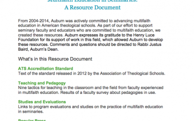 Multifaith Education in Seminaries: A Resource Document (2014)